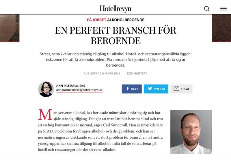 Artikel där Carl Sundevall är expert på alkohol på arbetsplatsen